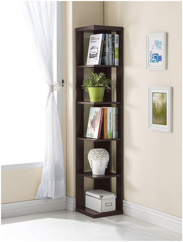 Cappuccino Finish Wood Wall Corner 5-Tier Bookshelf Bookcase