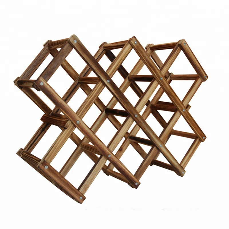 Wooden Red Wine Rack 10 Bottle Holder Mount Bar Display Shelf Folding Wood Wine Rack Alcohol Neer Care Drink Bottle Holders