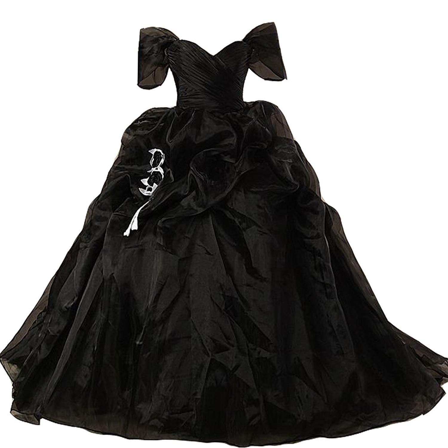 72dec41c5a8 Get Quotations · Lemai Vintage Black and White Ball Gown Off Shoulder Gothic  Victorian Wedding Dresses