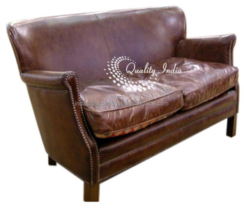 Canape cuir vintage three seater sofa buy commercial - Canape cuir vintage ...