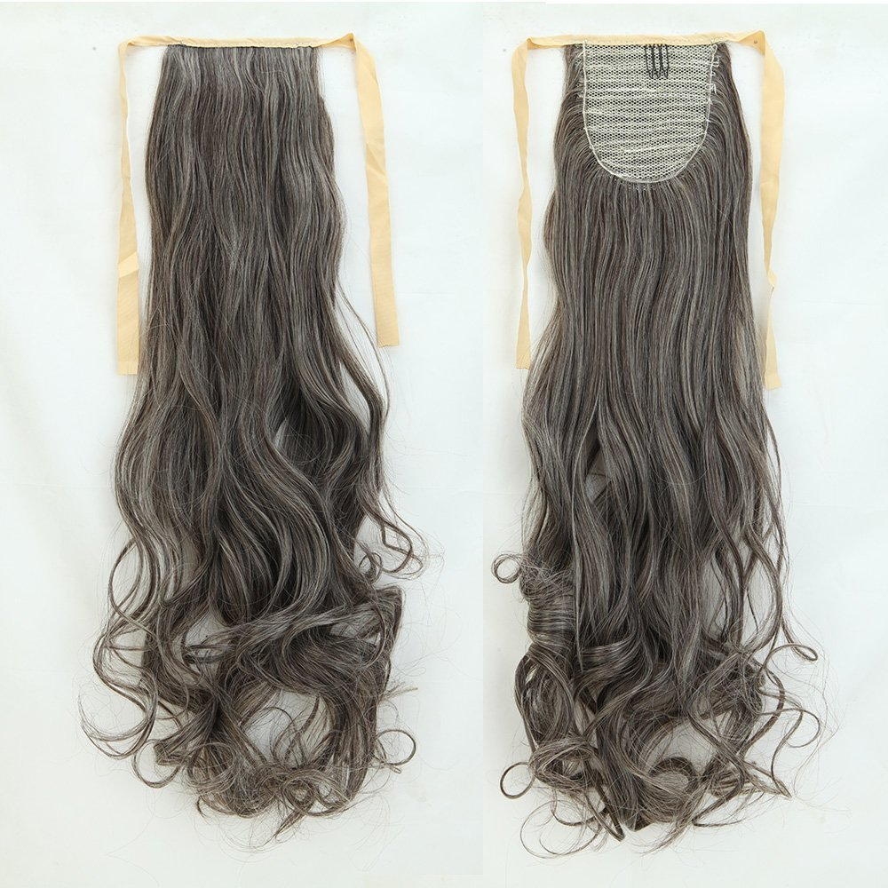 Long Curly Dark Brown Mix Bleach Blonde Binding Ponytails 18 Inches Clip on Ponytail Hair Extensions Hairpiece Ribbon Pony Tail Extension
