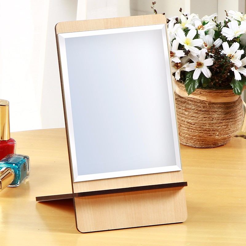 Modern Style Desktop Red wood Mdf Cheap Makeup Cosmetic Mirrors