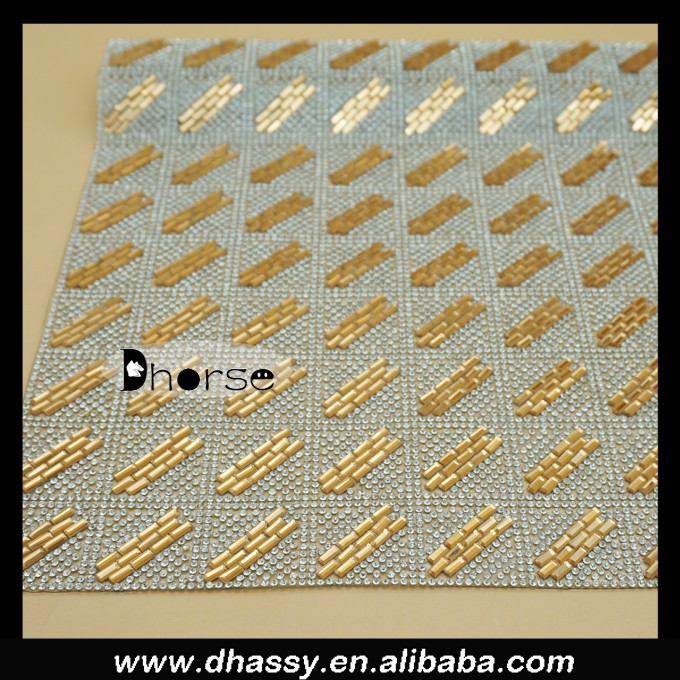 wholesale Alibaba Dhorse DHRM1536 40*24CM / sheet Sparkle decorative Gold glass stone Diamond Mesh Wrap Roll Crystal Rhinestone