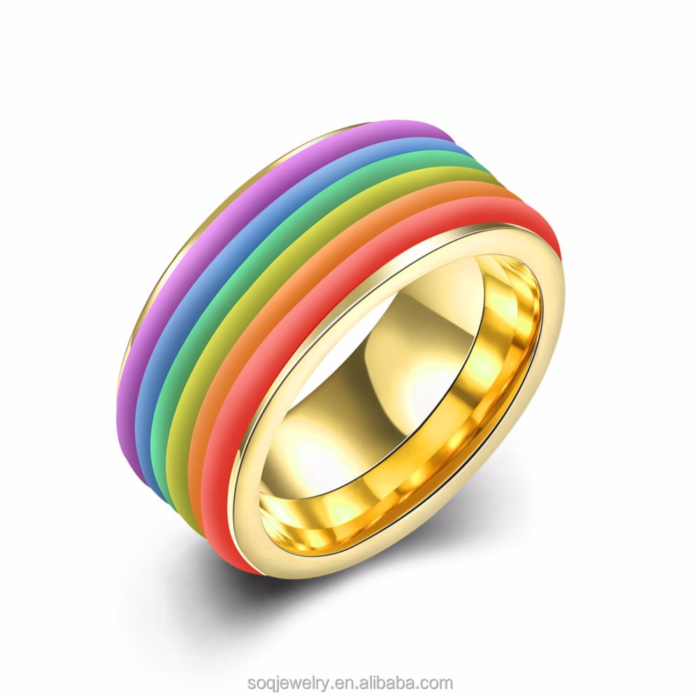 Fashion gay man ring 18K gold plated latest rainbow silicone wedding ring rainbow ring