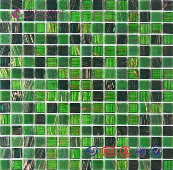 Vert Melange Or Ligne Carreaux De Mosaique En Verre Pour Salle De