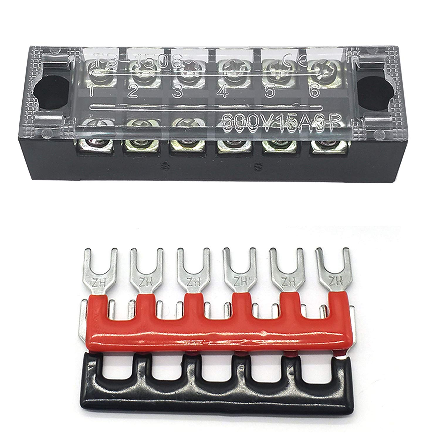IZTOSS 6 Positions 600V\15Amp terminal block kits Terminals Included Red and Black 2 Pcs