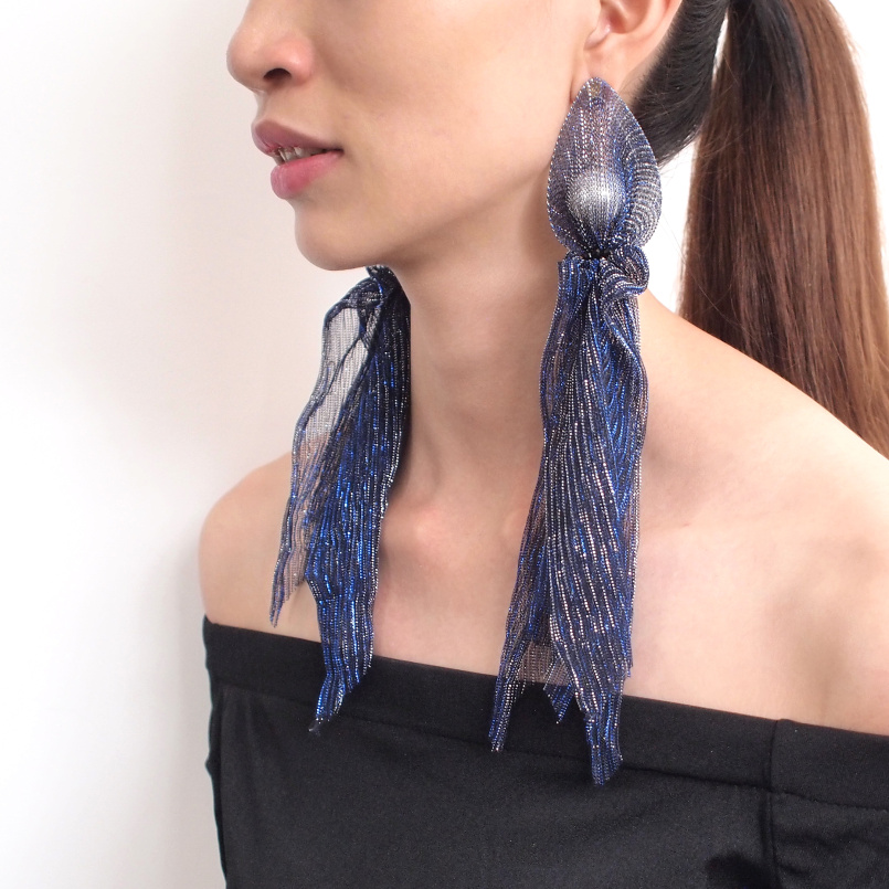 Bohemian Lace Long Tassel Drop Earrings Handmade Wrap Imitation Pearl Crystal Beaded Statement Dangle Earrings Christmas Jewelry, Blue;black;pink;light gray;khaki