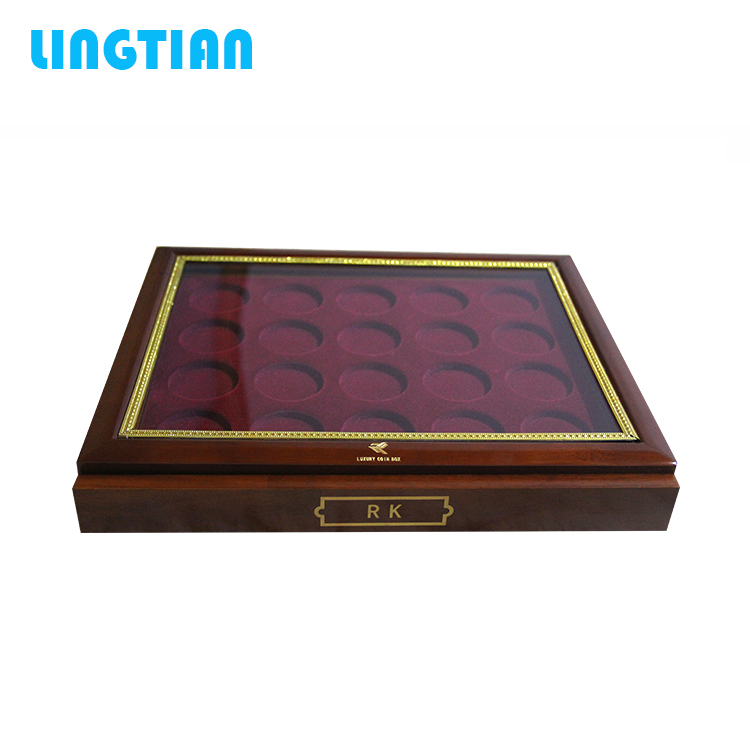 LINGTIAN China product custom logo challenge coin storage wooden box