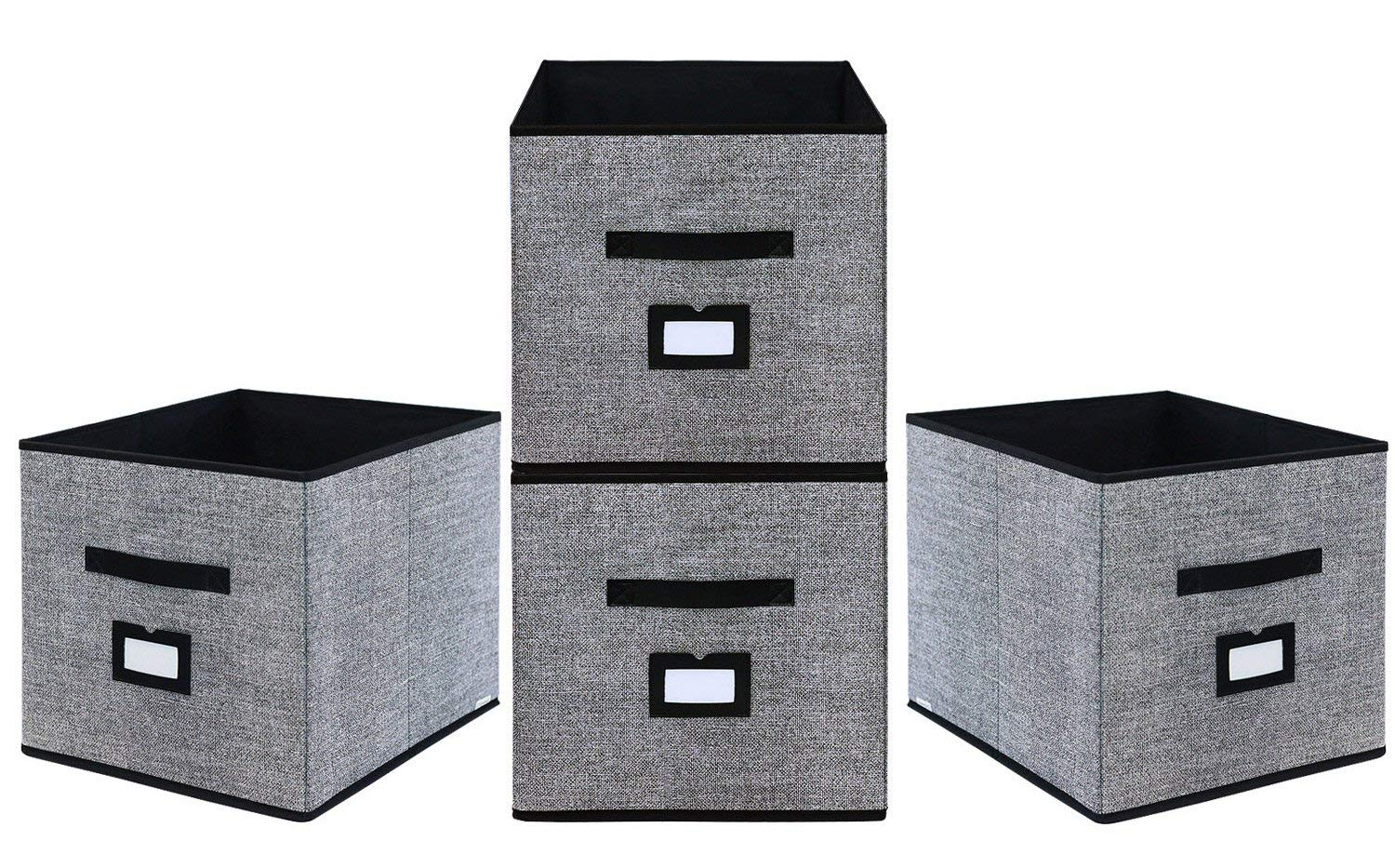 Get Quotations · Onlyeasy Foldable Cloth Storage Cubes With Label Holders    Fabric Storage Bins Baskets Organizers For Home