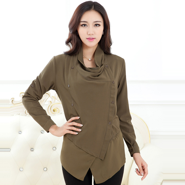 c63d1ce0fcb72 Get Quotations · Big Size XL-5XL Women Fashion Long Sleeve Blouses 2015  Europe Style Double Breasted Design
