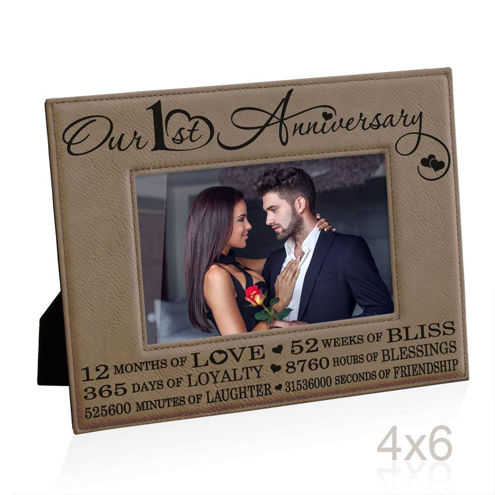 Our First (1st) Anniversary Engraved Leather Picture Frame - Gifts for Couple, Gifts for Him, Gift for Her, Paper Anniversary Gifts, Photo Frame, First Wedding Anniversary Gifts (4x6-Horizontal)