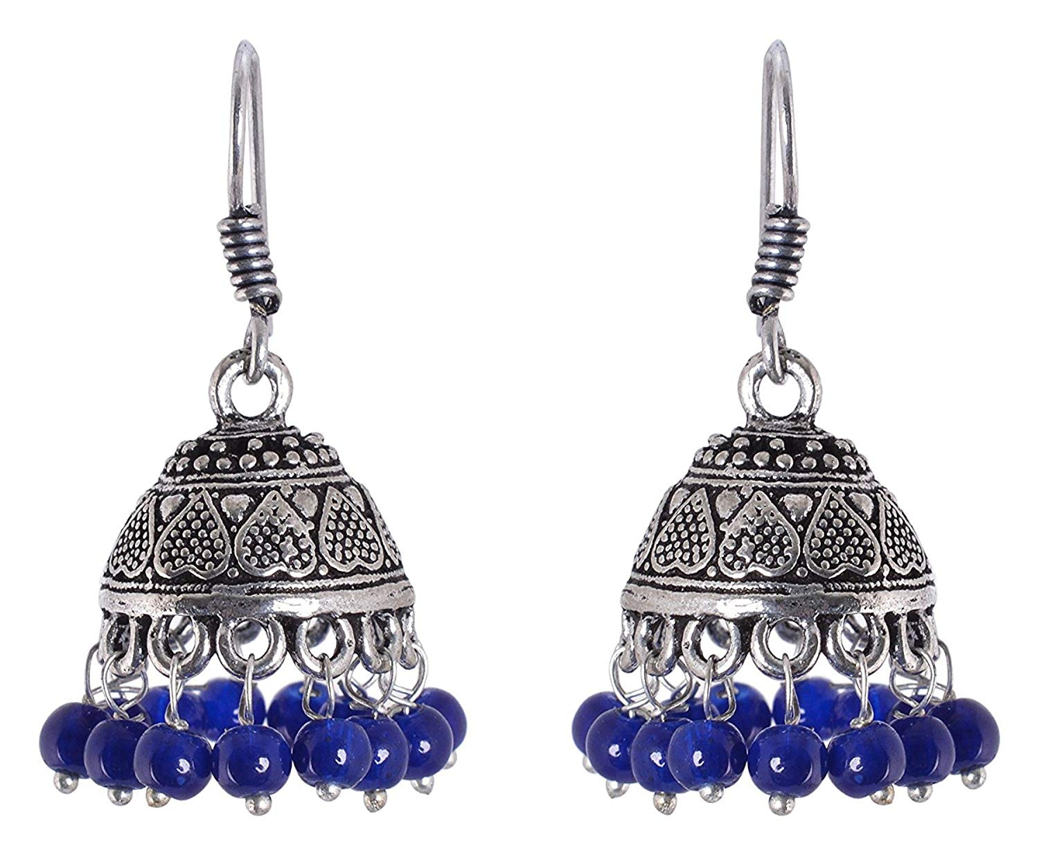 Subharpit Black Beads Oxidized Silver Traditional Indian Jhumka Jhumki Earring for Woman /& Girls