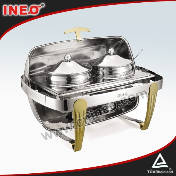 Roll-top Chafing Stainless Steel Buffet Trays/Buffet Display Stand/Stainless Steel Buffet Server