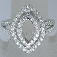 High Quality Marquise Cut Shape 4x6mm Solid 18Kt White Gold Diamonds Pave Setting Ring SR289
