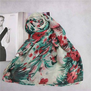 Customize Indian style Prints Flower Scarf wholesale muslim Long Shawl Wraps arab sexy women viscose hijab pattern pashmina