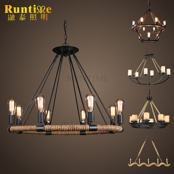 Vintage Style Hemp Rope And Iron Lamp Ring Pendant Light
