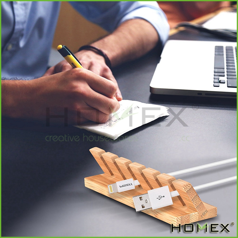 Bamboo cable organizer wire manager Homex BSCI/Factory