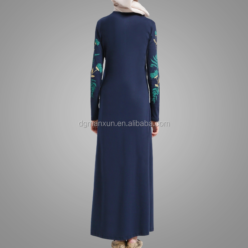 Print Pattern Casual Abaya Modest Muslim Girls Photos Clothing Hotsale No See Through Long Dress Online