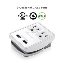 2016 newest retractable power strip 2-Outlet &Dual USB charging Ports with multi plug usb ports