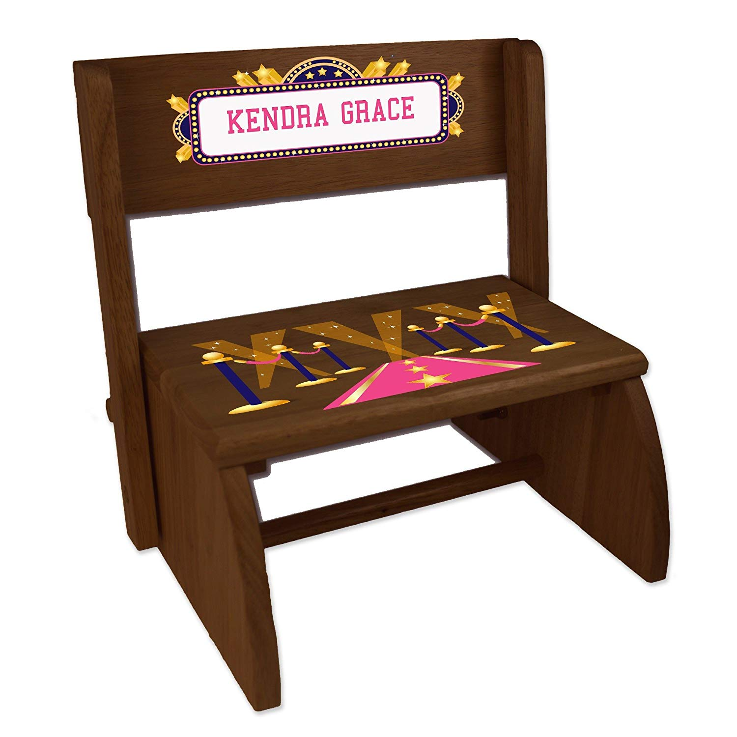 Personalized A Star is Born Pink Espresso Wooden Folding Stool and Seat
