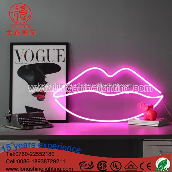 Factory Price LED Acrylic Lips Sign Neon Table Light For home decoration Desktop Night Light
