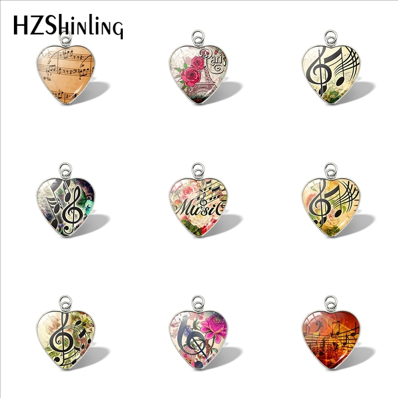 2019 New Music Notes Heart Pendant Colorful Music Flower Handmade DIY Craft Pendants Glass Cabochon Jewelry For Women Accessory фото