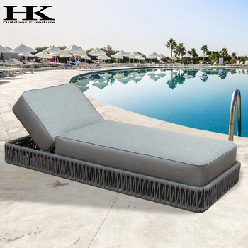 Wicker swimming pool High cushion lounge chairs sun lounger Rope outdoor furniture