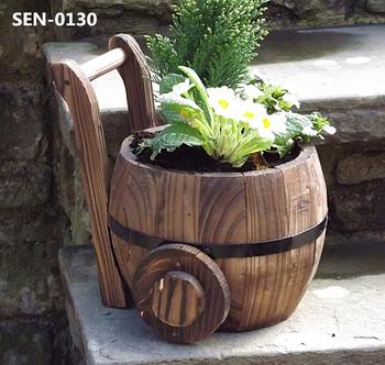 Small New Design Garden Wood Flower Planter Wooden Barrel Pot