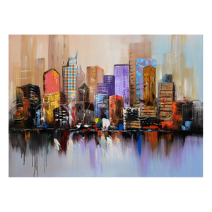 Handpainted Singapore Abstract Cityscape Home Goods Art Oil Painting For Interior Decoration