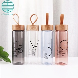 360ml Fashion Transparent Sports H2o Water Eco Plastic Bottle With Wood Grain Lid