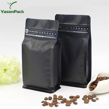 Custom Matt Black Block Bottom Sealed Reusable Coffee Bags Side Gusset Degassing With Valve ...