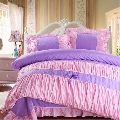 wholesale purple pink polka dot girls bedding comforter sets100 cotton king queen full size. Black Bedroom Furniture Sets. Home Design Ideas