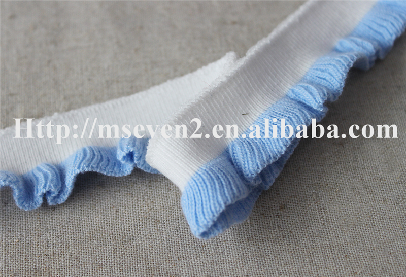 Pleated design blue and white color elastic crochet lace trimming for dress