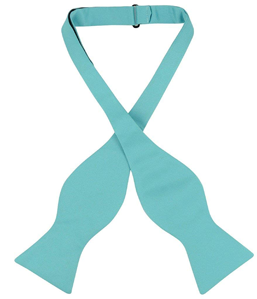 Vesuvio Napoli SELF TIE Bow Tie Solid TURQUOISE AQUA BLUE Color Men's BowTie