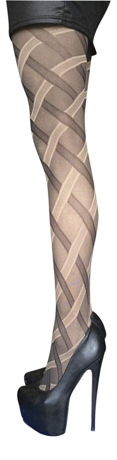 30221a708a7e0 Get Quotations · Sock Snob 40 Denier Designer Cable Tights One Size 36-42  Hip, Beige Cable