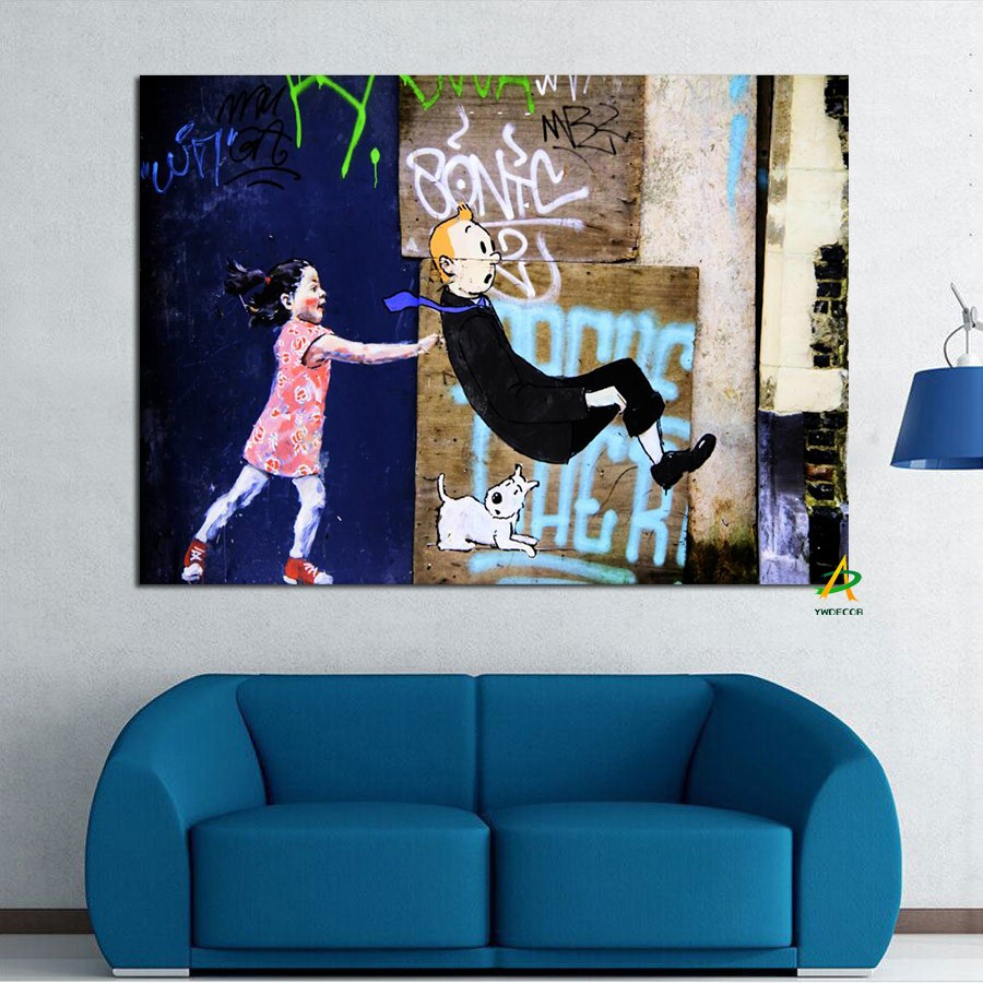 Father And Daughter Playing Games Belgium Brussels Street Art Canvas Print Painting Framed For Living Room