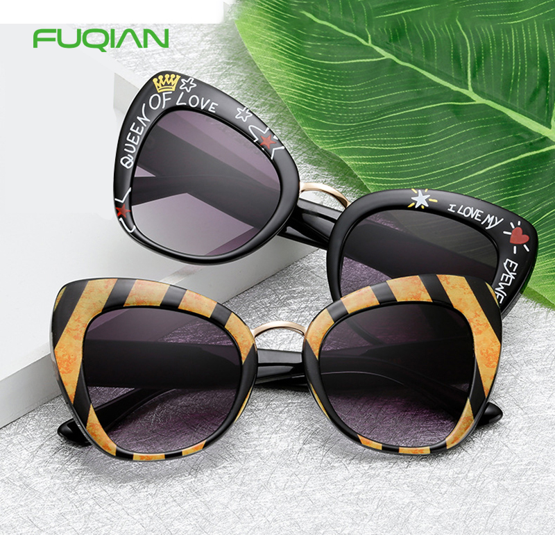 Wholesale Patterns Printing Frame Photochromic Cat Eye Women Men Sunglasses