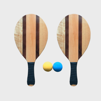 Premium Wooden Frescobol Beach Paddles Ball Set