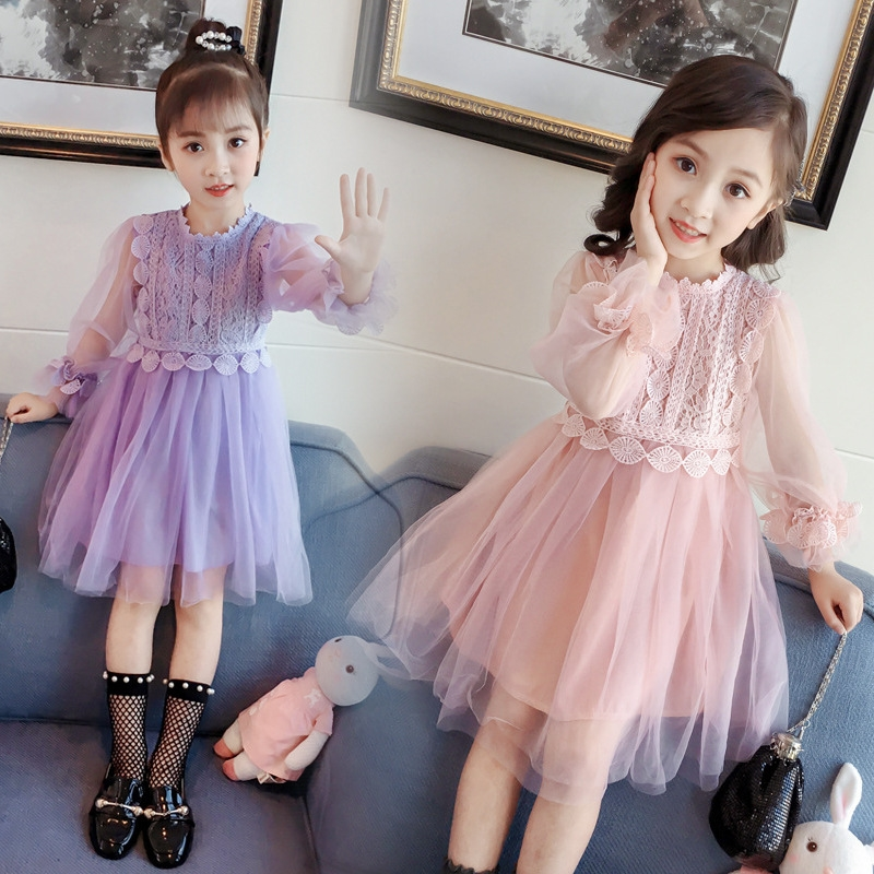 Cute Princess Girlspuff sleeve Layered Dress Long Sleeve Emboridary Lace Dresses Birthday Party Children's Costume for girl фото