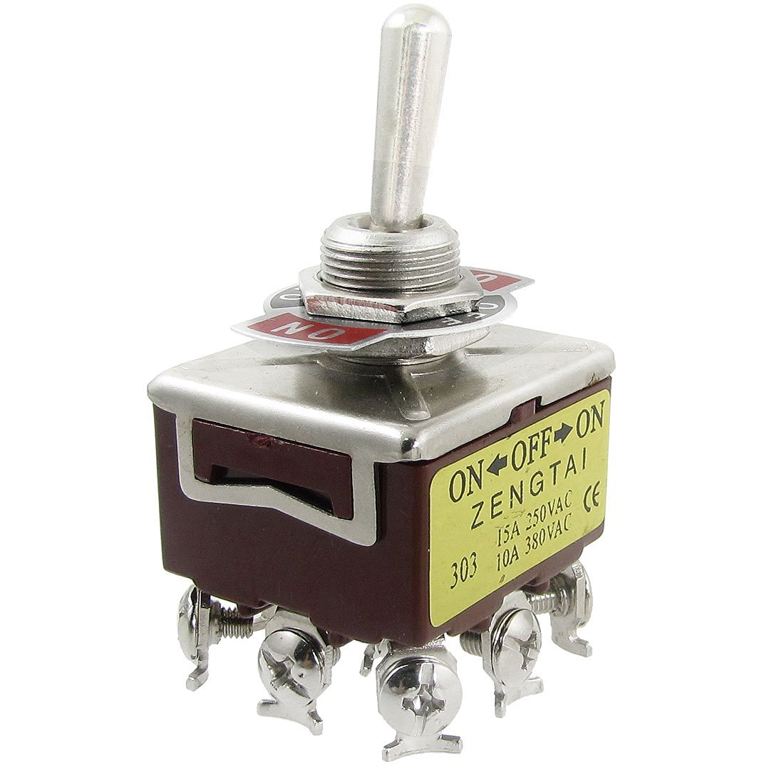 uxcell AC 250V 15A 380V 10A ON/OFF/ON 3 Position 3PDT 9 Screw Terminals Toggle Switch