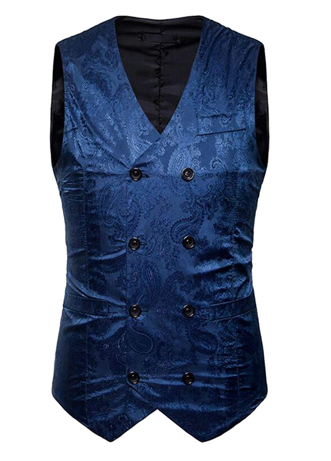ainr Mens Spring Double-Breasted Print Slim Sleeveless V-Neck Suit Vest Tops
