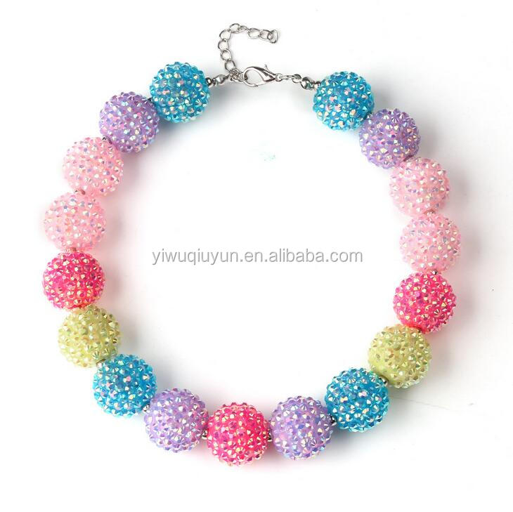 Wholesale Cute Rainbow Bubblegum Beads Gumball Chunky Necklace