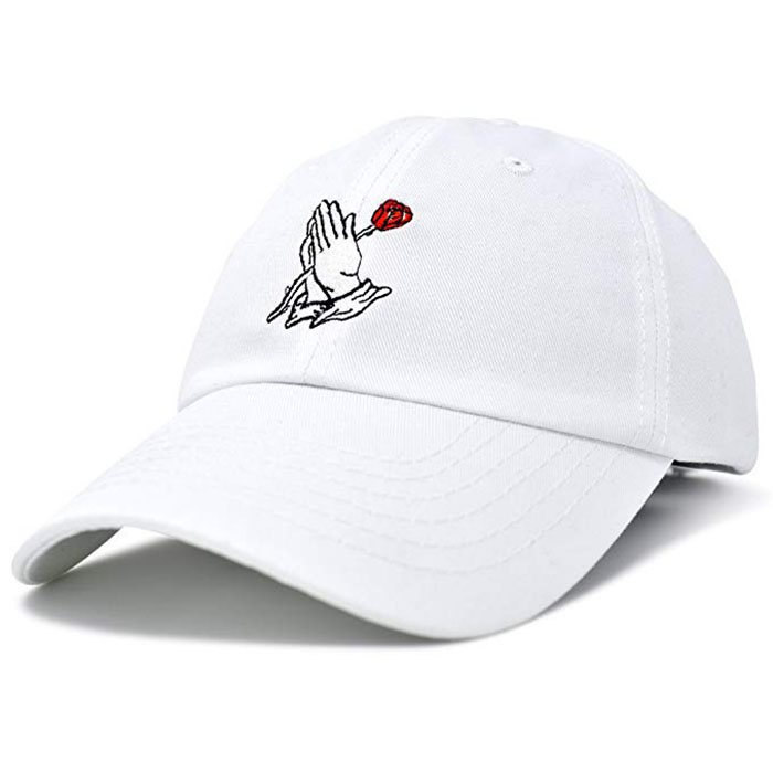 Wholesale Custom Embroidery Prayer Hands Hat Baseball Cap Rose Dad Hats White 100 Cotton 6 Panels Baseball Hat