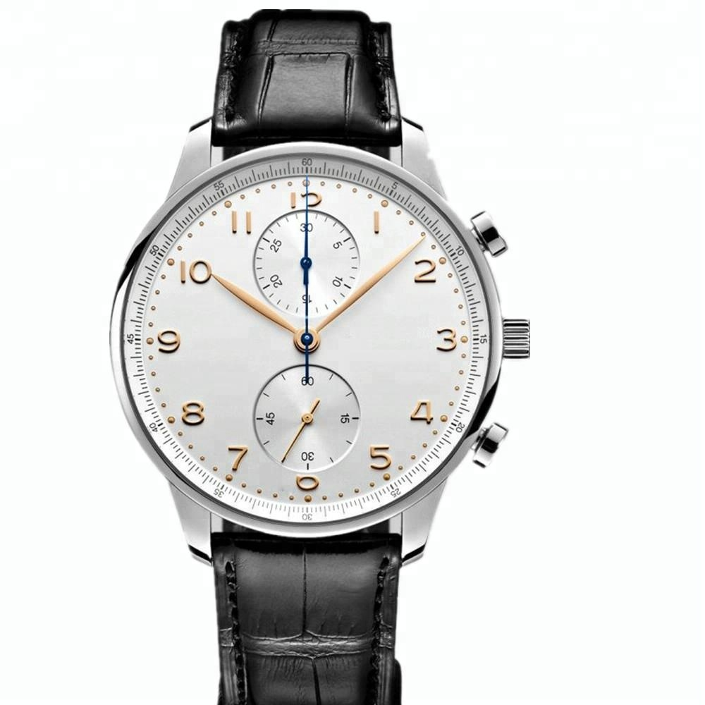 custom men leather watch brand chrono watches white from quartz watch company