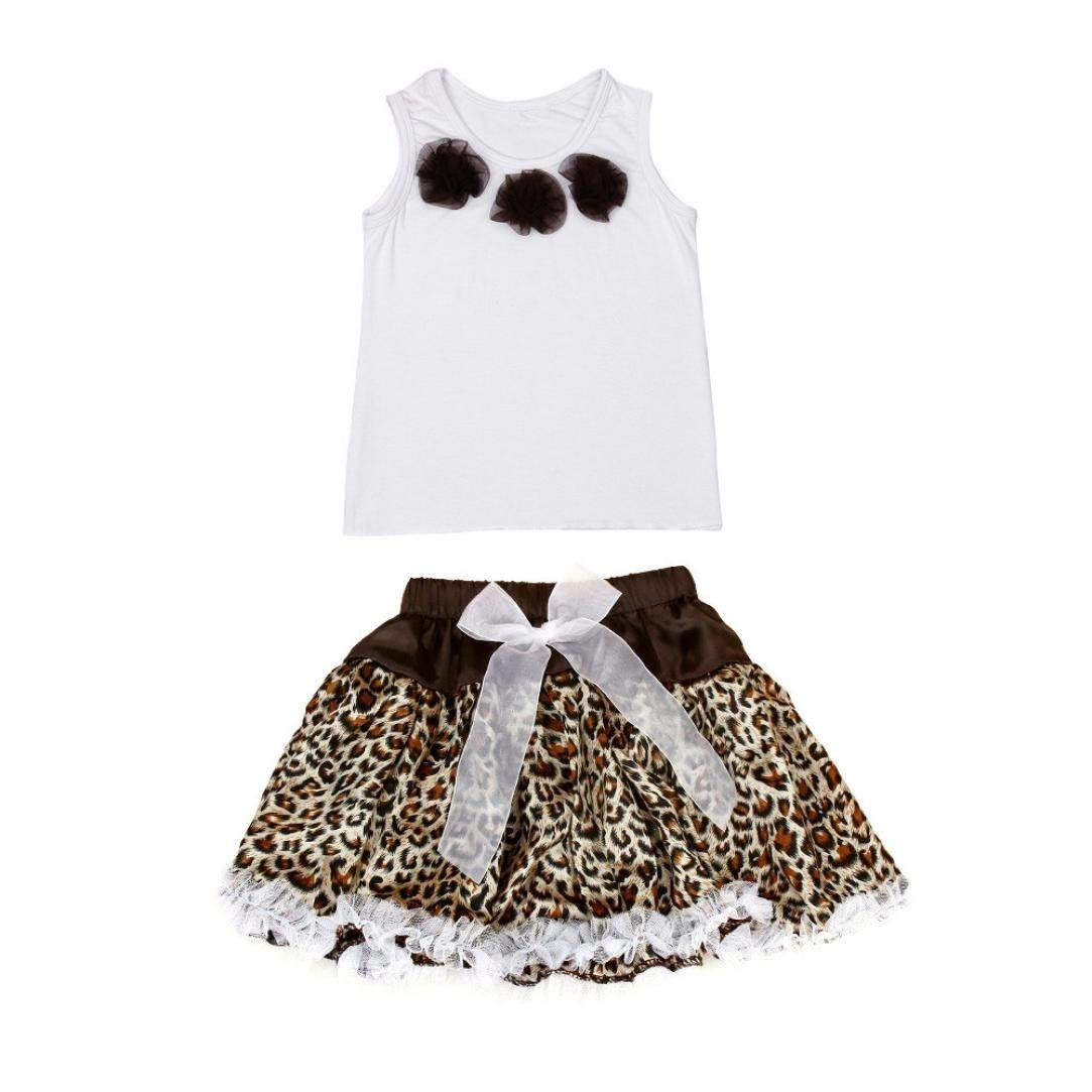 FEITONG 1Set Baby Girls Tutu Dress Flowers Top+Skirt Leopard Outfits Clothes (Age:3-4Y, coffee)