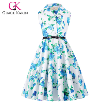 521833c369ac Grace Karin Kids 'Holly' Vintage 50's Dress Retro Vintage Sleeveless Lapel  Collar Girls Summer