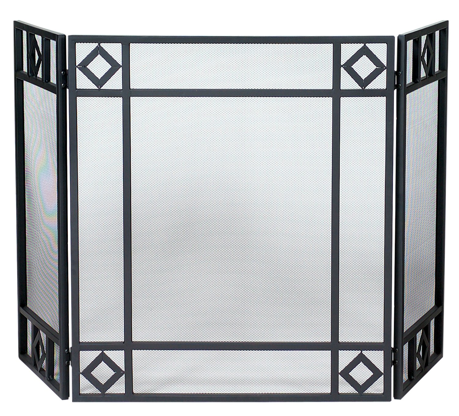 Uniflame 3 Fold Black Wrought Iron Screen - Black - Wrought Iron