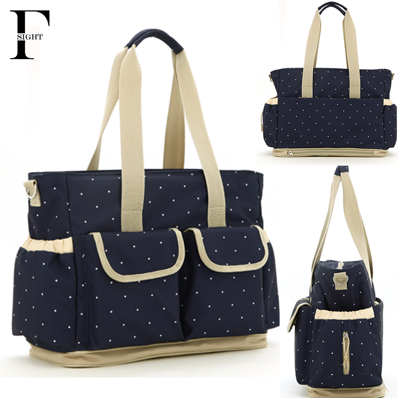 Baby nursery stroller diaper bag tote Fashion dot baby care nappy bag for mom stroller bag for baby stuff waterproof cart bag