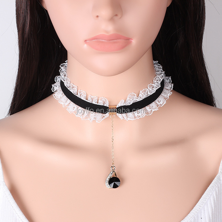Wedding Party Fancy dress Vintage-Retro-Goth-Emo Black White Lace Choker Necklace