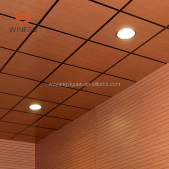 Veneer Wood Drop Ceiling Tiles For Home Interior Decoration